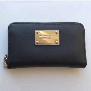Michael Kors Zip Around Leather Wallet - Black